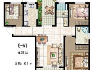 印象户型图 三室二厅二卫 面积:129㎡ 位于高层-普通住宅/平层高清图片