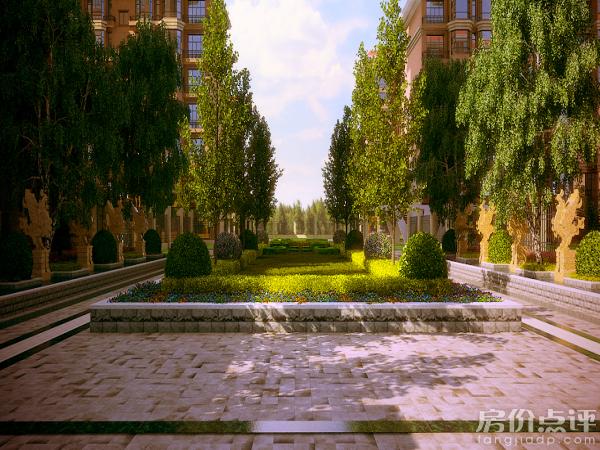 置业顾问介绍说社区景观采用中式园林景观,包括五大主题景观,中式风格图片