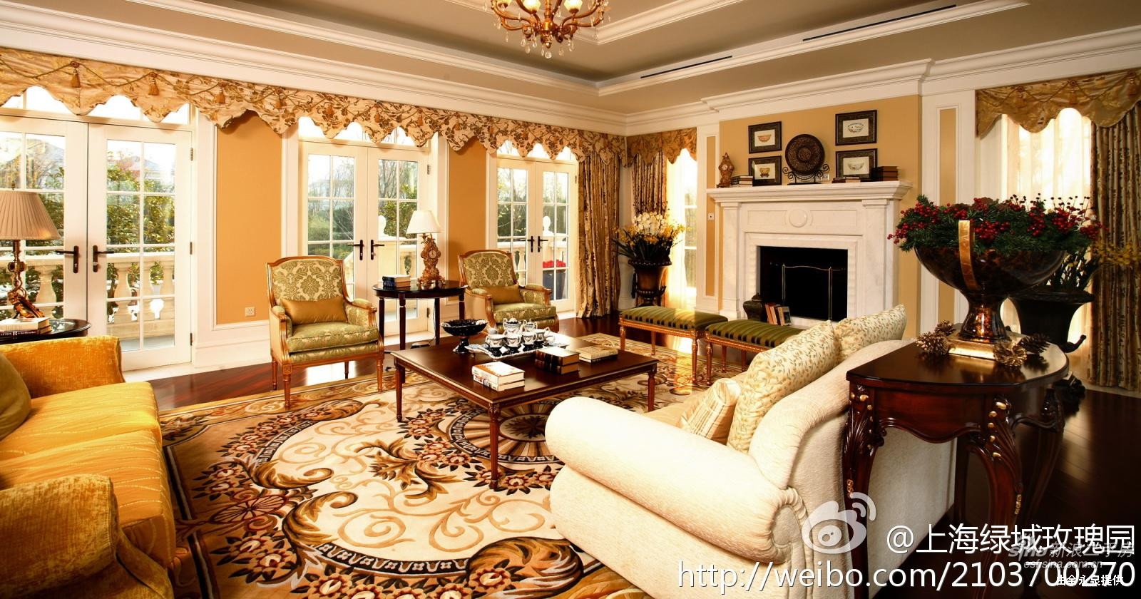 上海 绿城玫瑰园样板间 客厅 高清图片